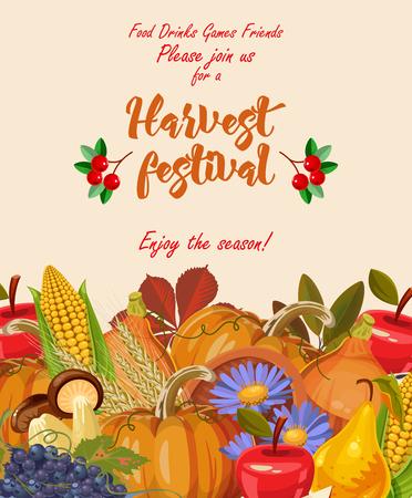 Joyeux jour de Thanksgiving. Carte de voeux de vecteur avec des fruits d'automne, des légumes, des feuilles et des fleurs. Fête de la moisson