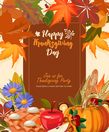 Happy Thanksgiving day. Vector greeting card with autumn fruit, vegetables, leaves and flowers. Harvest festival Illustration