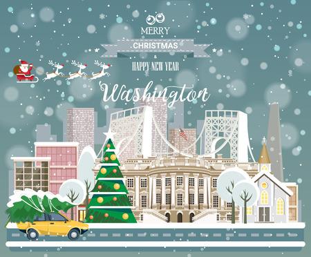 メリークリスマスと幸せな新年、街のパノラマビューを持つワシントンポストカード