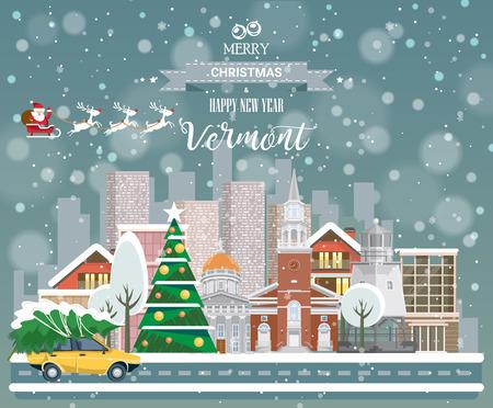 市内のパノラマの景色と陽気なクリスマスと幸せな新年 (バーモント州) はがき