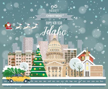 市内のパノラマの景色と陽気なクリスマスと幸福な新しい年、アイダホ州はがき  イラスト・ベクター素材