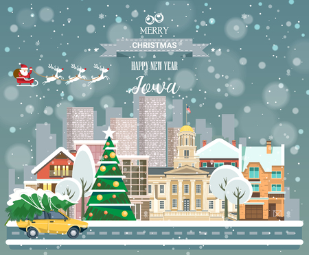 Merry Christmas and Happy New Year, Iowa postcard with panoramic view of city Illustration