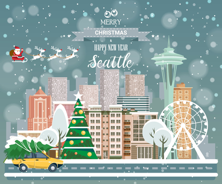 Merry Christmas and Happy New Year, Seattle postcard with panoramic view of city