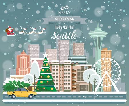 Frohe Weihnachten und ein glückliches neues Jahr, Seattle Postkarte mit Panoramablick auf die Stadt Standard-Bild - 87266727
