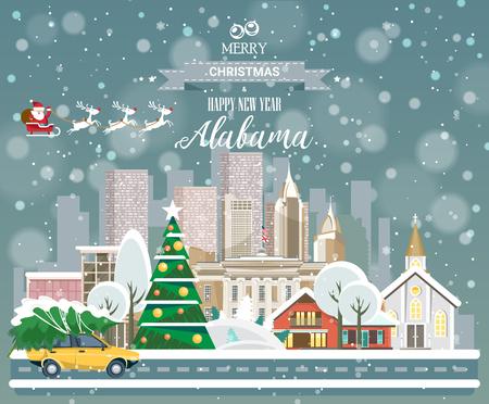 メリークリスマスと幸せな新年、街のパノラマビューを持つアラバマポストカード  イラスト・ベクター素材