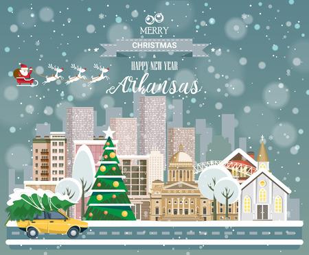 市内のパノラマの景色と陽気なクリスマスと幸せな新年、アーカンソーはがき  イラスト・ベクター素材