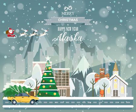 市内のパノラマの景色と陽気なクリスマスと幸せな新年、アラスカはがき