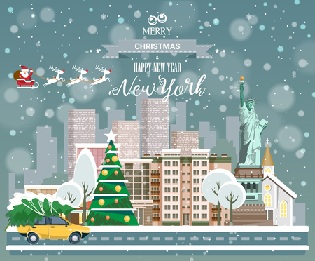 Merry Christmas and Happy New Year, New York Illustration
