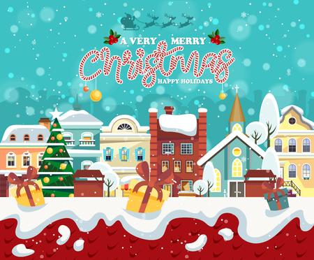 メリー クリスマスと幸せな新年のグリーティング カード