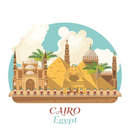 Egypt travel vector. Egyptian traditional icons in flat design. Holiday banner. Vacation and summer.  イラスト・ベクター素材