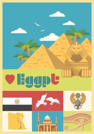 Egypte reizen vector. Egyptische traditionele pictogrammen in platte ontwerp. Vakantie banner. Vakantie en zomer.