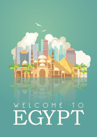 Egypt travel vector. Egyptian traditional icons in flat design. Holiday banner. Vacation and summer. Ilustrace