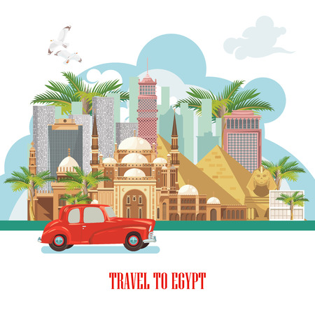 Egypt travel vector. Egyptian traditional icons in flat design. Holiday banner. Vacation and summer. Illustration