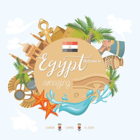 Egypt travel vector. Egyptian traditional icons in flat design. Holiday banner. Vacation and summer poster. Ilustrace