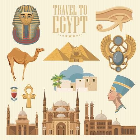 Egipto egipto vector . iconos tradicionales egipcios en diseño plano. vacaciones de verano . día de fiesta y el cartel de verano . Foto de archivo - 88339821