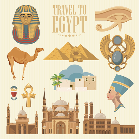 Egypt travel vector. Egyptian traditional icons in flat design. Holiday banner. Vacation and summer poster. Ilustração
