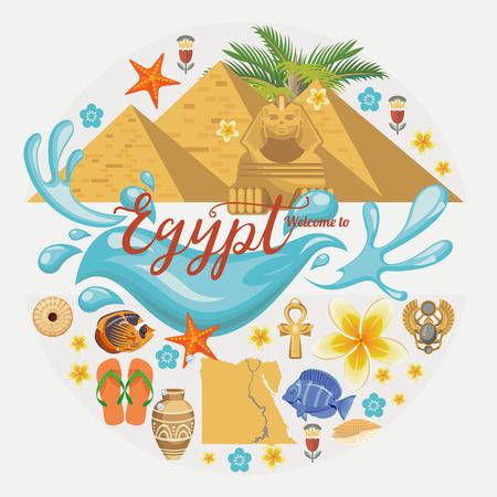 Egypte reizen vector. Egyptische traditionele pictogrammen in platte ontwerp. Vakantie banner. Vakantie- en zomerposter.