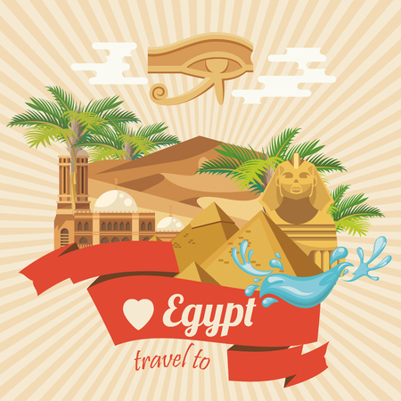 Egypt travel vector. Egyptian traditional icons in flat design. Holiday banner. Vacation and summer poster. Reklamní fotografie - 88339824