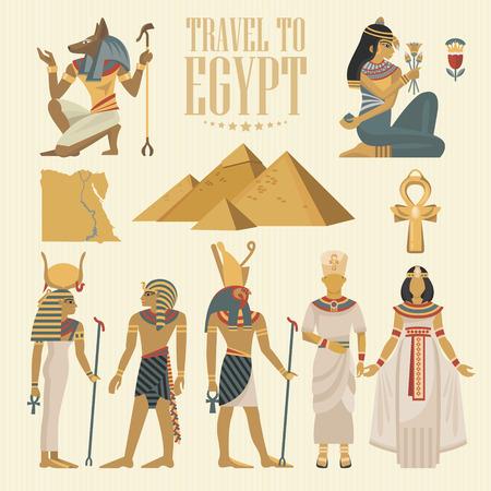 egipto egipto vector . iconos tradicionales egipcios en diseño plano. vacaciones de verano . día de fiesta y el cartel de verano .