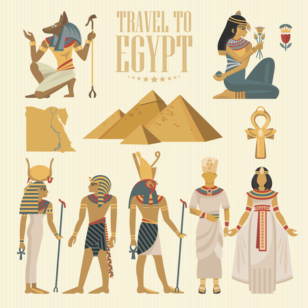 Egypt travel vector. Egyptian traditional icons in flat design. Holiday banner. Vacation and summer poster. Çizim