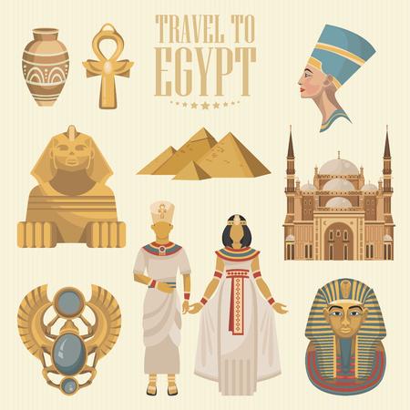 エジプト旅行のベクトル。フラットなデザインでエジプトの伝統的なアイコン。休日のバナーです。休暇と夏のポスター。