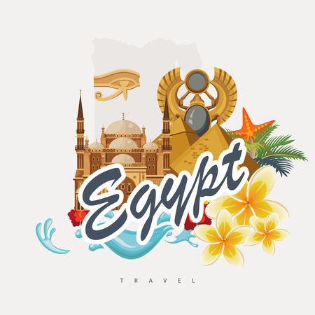 Egypt travel vector. Egyptian traditional icons in flat design. Holiday banner. Vacation and summer poster. Illustration