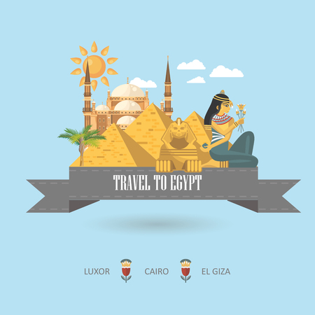 Egypt travel vector. Egyptian traditional icons in flat design. Holiday banner. Vacation and summer poster. Ilustracja