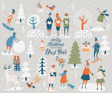 메리 크리스마스와 해피 뉴가 어 인사말 카드 겨울 게임과 사람들. 빈티지 스타일의 귀여운 사람들이 놀고 축하 템플릿.
