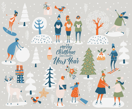Merry Christmas and happy New year vector greeting card with winter games and people. Celebration template with playing cute people in vintage style. Çizim