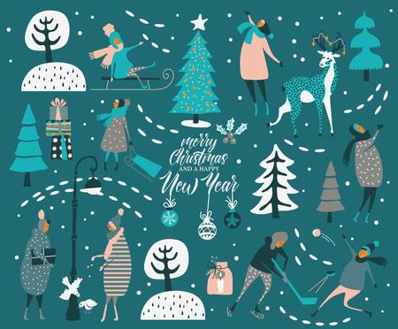joyeux noël et heureuse carte de voeux de vecteur de nouvel an avec des trucs d & # 39 ; hiver et de la conception de dessin animé avec des gens mignons en trois mains dans le style vintage Vecteurs