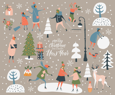 Merry Christmas and happy New year vector greeting card with winter games and people. Celebration template with playing cute people in vintage style. Ilustrace