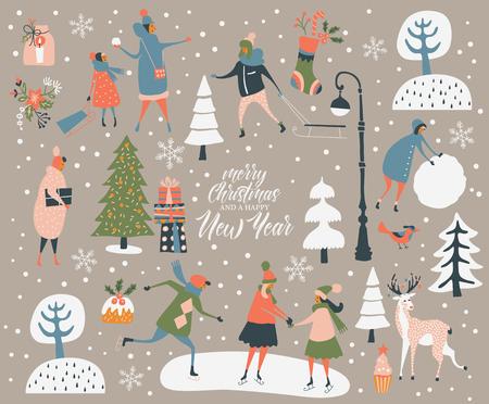 Vektorgrußkarte der frohen Weihnachten und des guten Rutsch ins Neue Jahr mit Winterspielen und -leuten. Feierschablone mit dem Spielen von netten Leuten in der Weinleseart.