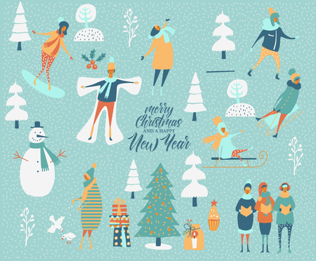 Merry Christmas and happy New year vector greeting card with winter games and people. Celebration template with playing cute people in vintage style. Illustration