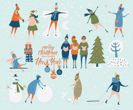 Merry Christmas and happy New year vector greeting card with winter games and people. Celebration template with playing cute people in vintage style. Ilustracja