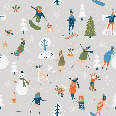 Bożenarodzeniowy bezszwowy wzór z zima grami, bałwanem, drzewami, płatkami śniegu, reniferem, dziećmi i dorosłymi. Wakacyjny szablon dla tapety i opakunkowego papieru w ręka rysunkowej kreskówce nowożytny styl.