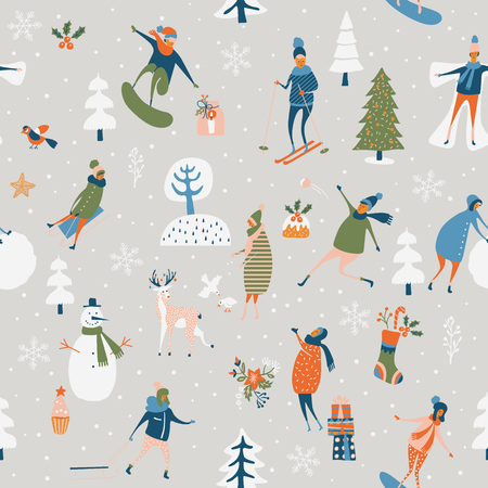 Weihnachtsnahtloses Vektormuster mit Winterspielen, Schneemann, Bäumen, Schneeflocken, Ren, Kindern und Erwachsenen. Feiertagsschablone für moderne Karikaturart der Tapete und des Packpapiers Zeichnungs-Karikatur in der Hand.