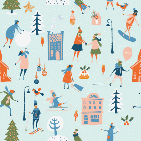 Christmas seamless vector pattern with winter games, snowman, trees, snowflakes, reindeer, kids and adults. Holiday template for wallpaper and wrapping paper in hand drawing cartoon modern style.