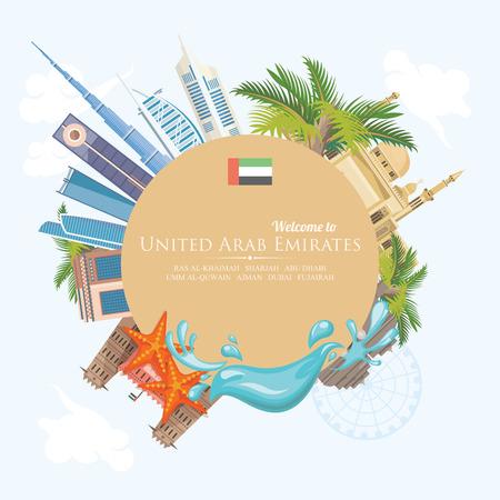 Vector Reiseplakat von Vereinigten Arabischen Emiraten. UAE-Schablone mit modernen Gebäuden und Moschee in der hellen Art. Standard-Bild - 89823757