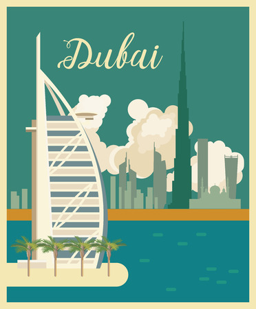 Vector travel poster of United Arab Emirates. UAE template with modern buildings and mosque in light style. Imagens - 89823758
