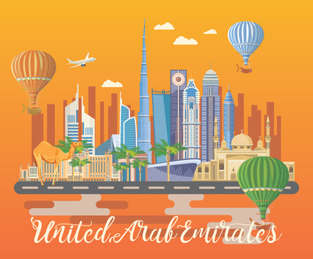 Vector travel poster of United Arab Emirates. UAE template with modern buildings and mosque in light style.