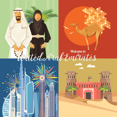Vector travel poster of United Arab Emirates . UAE template with modern buildings and mosque in light style. 向量圖像