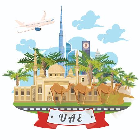 Cartel de viaje de vector de Emiratos Árabes Unidos. Plantilla de los Emiratos Árabes Unidos con edificios modernos y mezquita en estilo ligero. Ilustración de vector