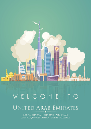 Vector travel poster of United Arab Emirates. UAE template with modern buildings and mosque in light style. Imagens - 89824004