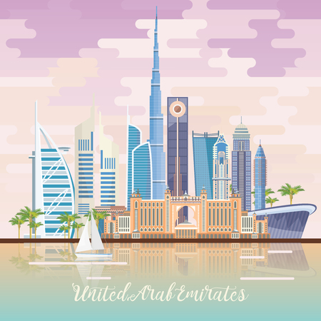 아랍 에미리트의 벡터 여행 포스터입니다. 현대적인 건물과 모스크 가벼운 스타일 아랍 에미리트 연방 템플릿.