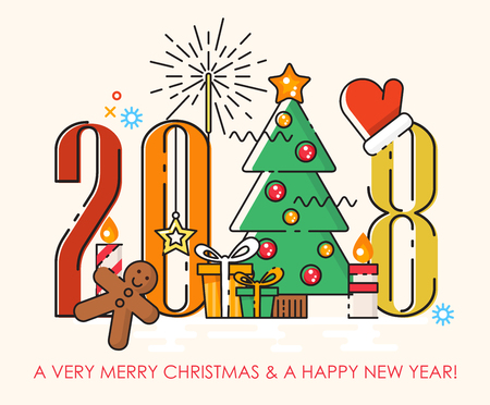 Christmas tree replacing number 1 in 2018. Poster in flat line modern style. Merry christmas and Happy New Year greeting card.