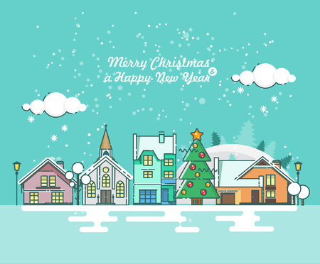 Merry Christmas greeting card.  Happy New year wishes. Poster in flat line modern style.