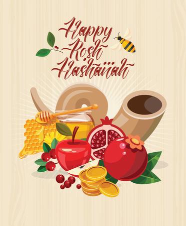 Gelukkige Rosh Hashanah vectorgroetkaart. Nieuwjaaraffiche in moderne stijl. Shana tova Stock Illustratie