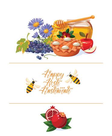 Cartolina d'auguri felice di vettore di Rosh Hashanah. Anno nuovo poster in stile moderno. Shana Tova Archivio Fotografico - 91032201