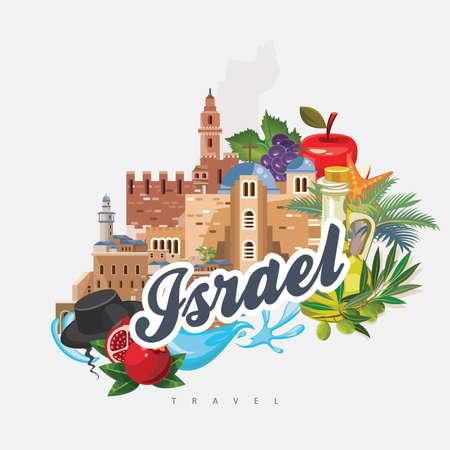 De vectorbanner van Israël met Joodse oriëntatiepunten. Reisposter in plat ontwerp Vector Illustratie