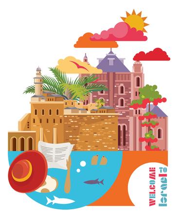 이스라엘 유대인 랜드 마크와 벡터 배너입니다. 평평한 디자인의 여행 포스터 스톡 콘텐츠 - 91031247